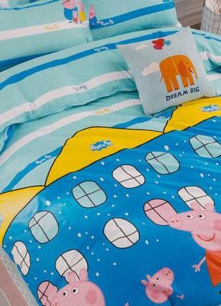 """Детское постельное белье для девочки из сатина""""свинка пеппа"""""""