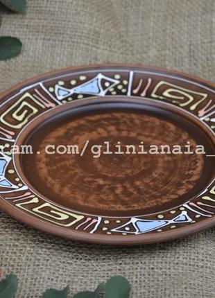 Тарелка глиняная с декором рыбки 21 см керамическая посуда для...