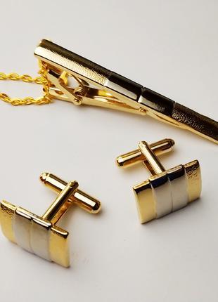 Набор запонок золотых зажим для галстука комплект шкатулка