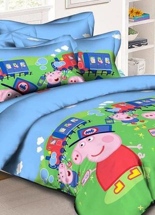 """Детский комплект постельного белья из ранфорс """"свинка пеппа"""""""