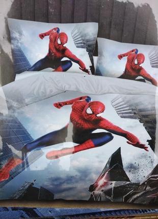 Детский комплект постельного белья из сатина человек паук