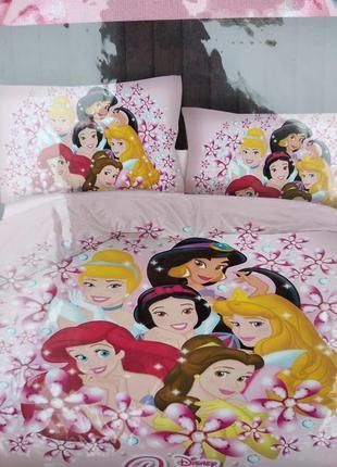 Детский комплект постельного белья из сатина принцессы диснея