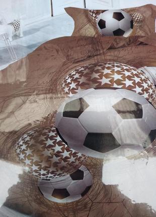"""Детский комплект постельного белья из сатин""""футбол-мячь'"""