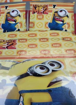 """Детский комплект постельного белья из сатина""""миньйон"""""""