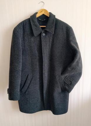 Шерстяное мужское серое зимнее пальто