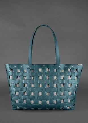 Кожаная плетеная женская сумка пазл xl зеленая krast