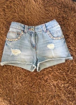Женские джинсовые шорты next ( некст хс-срр оригинал голубые)
