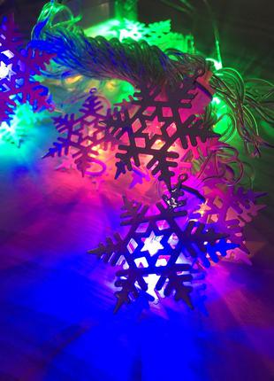 Гирлянда новогодняя снежинки разноцветные светодиодная на елку...