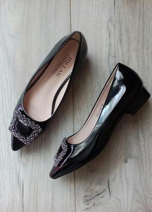 Черные лаковые лакированные туфли балетки на низком ходу