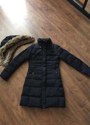 Куртка пуховик с капюшоном с искусственным мехом