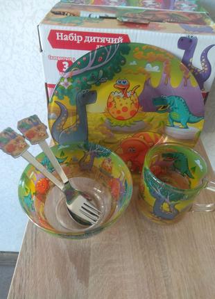 Набір дитячого посуду з 5 предметів. Динозаври.