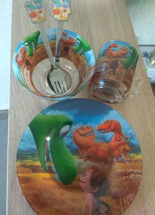 Набір дитячого посуду з 5 предметів. Мій добрий динозавр