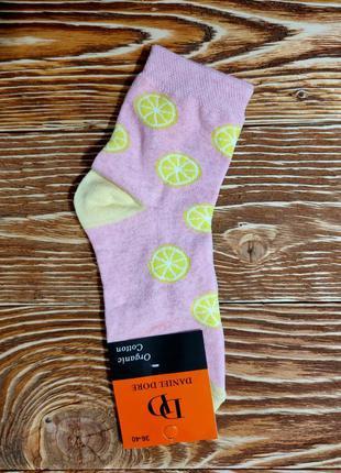 """Хлопковые носки женские с рисунком фрукты """"лимон"""""""