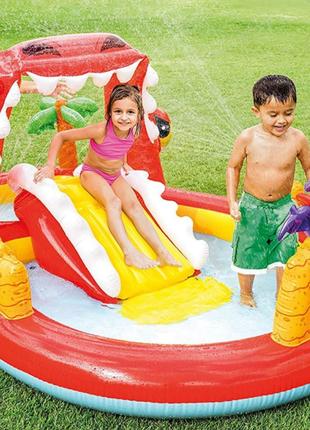 Детский надувной игровой центр, бассейн с горкой и фонтаном