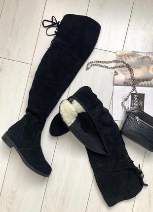 Женские черные замшевые зимние ботфорты