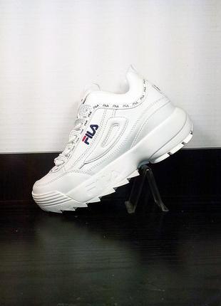 Женские белые кожаные кроссовки fila на платформе. на толстой ...