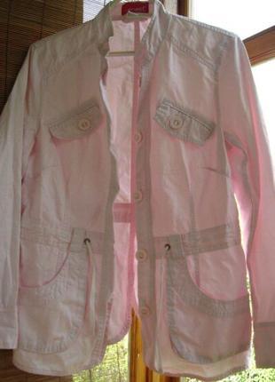 Жакет куртка 10 С М р., розовый, хлопок, на пуговицах, карманы.
