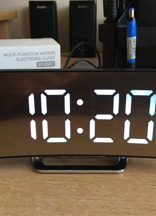 Электронные настольные зеркальные LED часы DT-6507 (белые цифры)