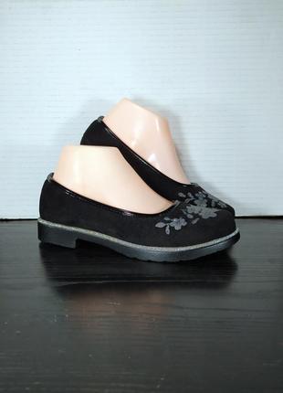 Детские замшевые туфли-балетки, с кожаной серединой. школьные ...