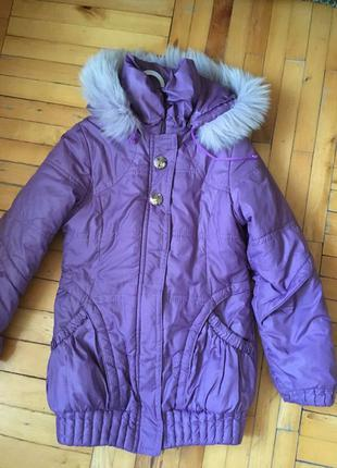 Куртка пальто деми, зима, на подстежке, на рост 140-146