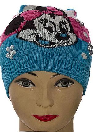 Синяя шапочка для девочки с мини маус