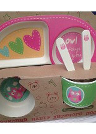 Набор детской посуды (бамбук), 5 предметов