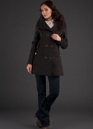 Пальто коричневое кашемировое, размер s