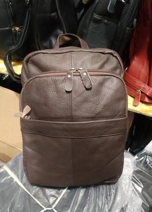 Стильный кожаный рюкзак коричневый