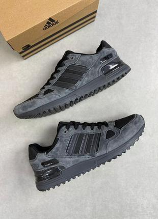 Adidas zx  750 демисезонные кожаные черные демисезонные мужски...