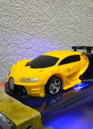 Машинка-трансформер на радиоуправлении Bugatti желтая
