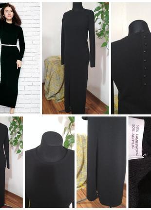 Фирменное, теплое шерстяное, базовое платье чулок, с стильным ...