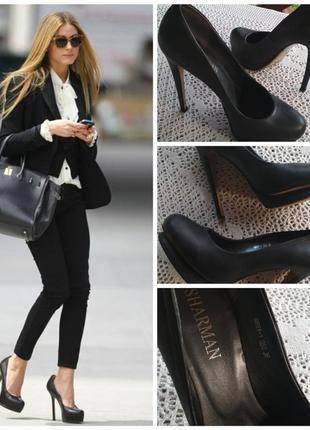 Фирменные, кожаные, базовые туфли на шпильке, 100% кожа