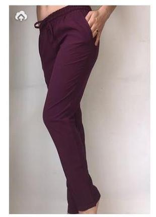 Женские летние штаны из софта бордо/марсала