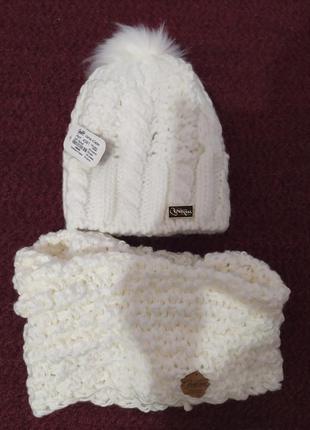 Зимняя теплая шапка из крупной вязки с бубоном + шарф-хомут