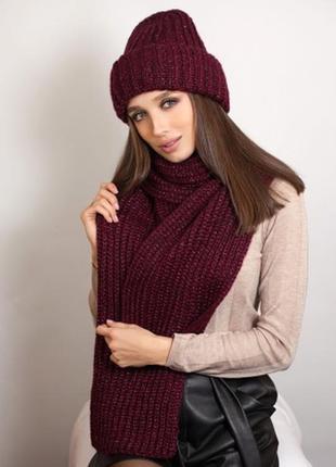 Комплект с люрексом бордо (шапка и шарф )