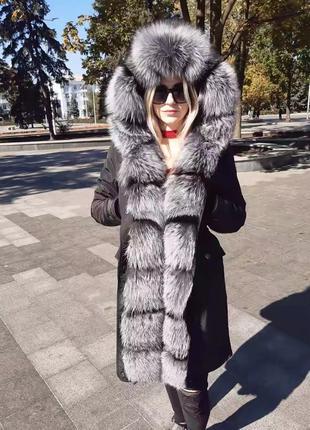 Женская зимняя Парка с натуральным мехом чорнобурки