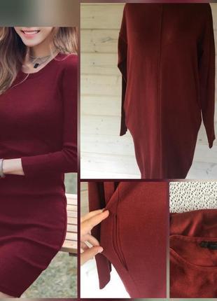 Фирменное, трикотажное, тёплое платье миди, чулок, оверсайз, к...