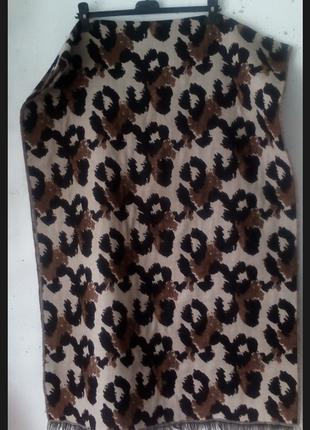 Огромный теплый шарф  палантин в леопардовый принт reserved