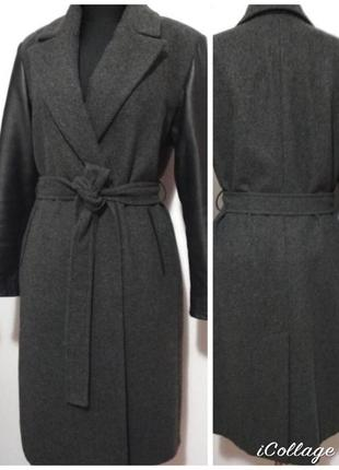 Шерстяное пальто в стиле zara, 100% шерсть, рукава из натураль...