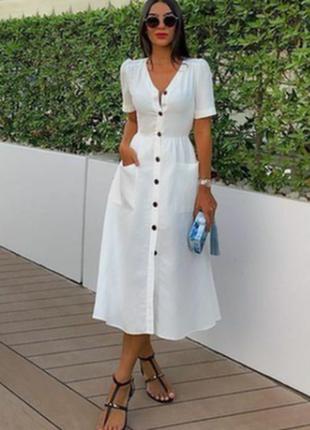 Платье миди на пуговицах  в ретро стиле  как zara