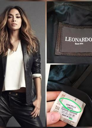 Фирменный, итальянский, базовый кожаный пиджак с 100% лайковой...