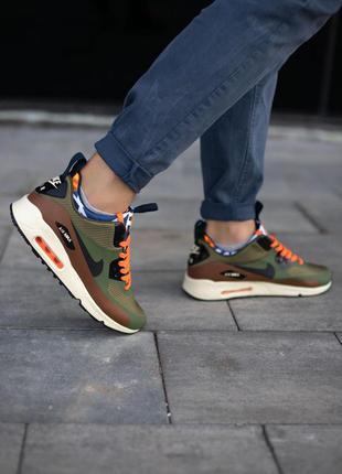Nike air max 90 mid winter olive orange кроссовки найк