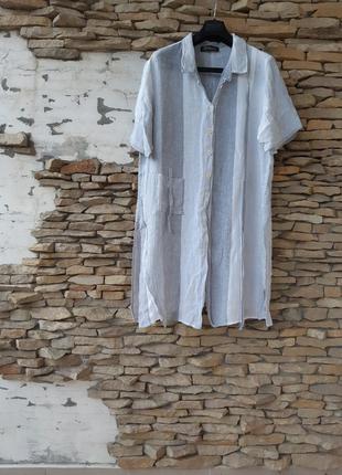 Стиль💯%льняная удлинённая рубашка 👕 туника большого размера