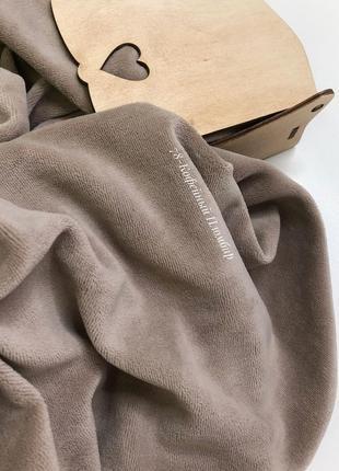 Ткань велюр для рукоделия хлопковый кофейный