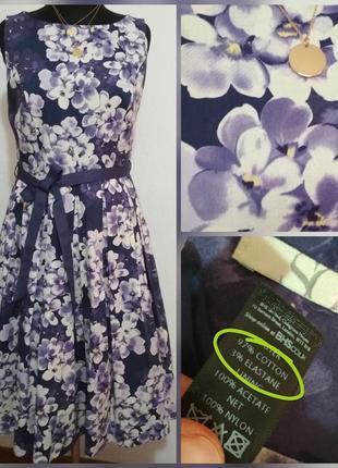 Фирменное, котоновое платье миди с пышной юбкой в цветочный пр...