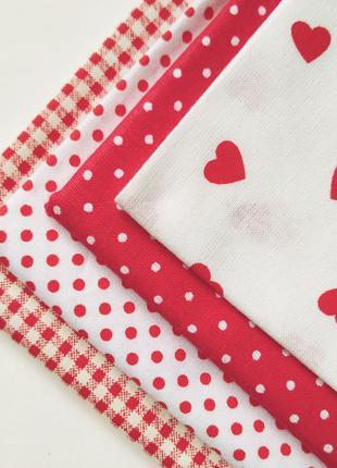 Набор хлопковой ткани для рукоделия сердечки