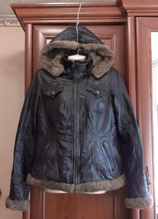 Кожаная куртка утепленная теплая lindgron шоколад
