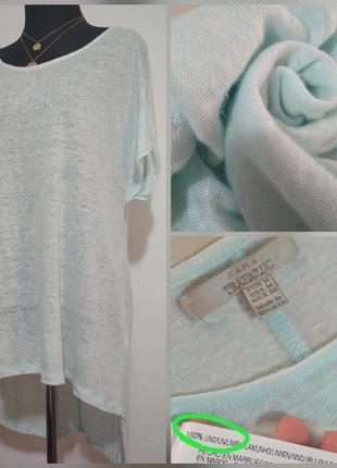 Фирменная, нежного мятного цвета, льняная удлиненная футболка,...