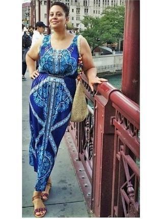 Длинное платье батал 3х принт с декором  : шифон + трикотаж