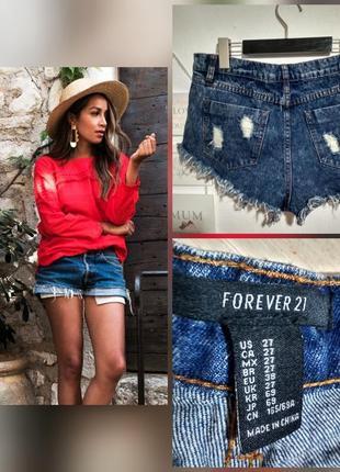 Фирменные, базовые, котоновые темно синие джинсовые шорты, 100...